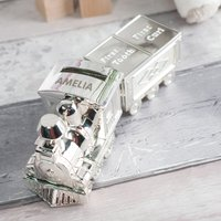 Personalised Train Money Box With Tooth and Curl Carriage