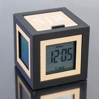 Personalised 4 Screen Cube Travel Alarm Clock - Alarm Clock Gifts