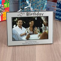 Personalised '40th Birthday' Silver Photo Frame - 40th Birthday Gifts