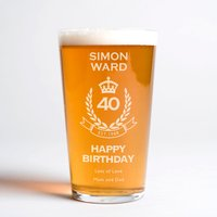 Personalised Pint Glass - 40th Birthday Crest - Getting Personal Gifts
