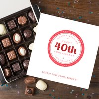 Personalised Belgian Chocolates - 40th Anniversary - 40th Gifts