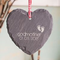 Personalised Heart-Shaped Slate Hanging Keepsake - Godmother - Godmother Gifts