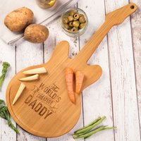 Personalised Guitar Chopping Board - World's Greatest - Guitar Gifts