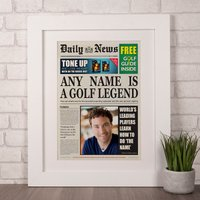 Photo Upload Spoof Newspaper Print - Golf Legend - Golf Gifts