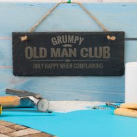 Personalised Hanging Slate Sign - Grumpy Old Man Club - Grumpy Gifts