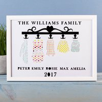 Personalised Papercut Framed Print - Coat Hooks Family - Decorations Gifts