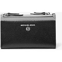 MKTarjetero pequeño de piel granulada en dos tonos con doble cremallera - Negro/gris(Gris) - Michael Kors