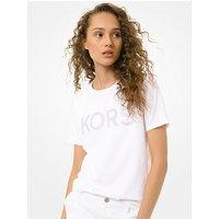 MKCamiseta de punto liso de algod��n con tachuelas y logotipo - Blanco(Blanco) - Michael Kors