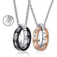 Personalized Jewelry Valentine's Day Gift Lovers' Titanium Steel Gold/Black Necklace (One
