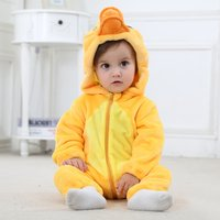 Baby's Adorable Duck Flannel Zip-up Hooded Jumpsuit