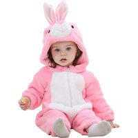 Super Cute Pink Rabbit Flannel Zip-up Hooded Jumpsuit for Baby