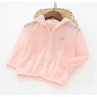 Baby Girl's Solid Zip-up Long Sleeve Hooded Cardigan