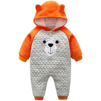 Adorable Bear Hooded Contrast Jumpsuit for Babies