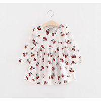 Sweet Cherry Long Sleeve Dress in White for Baby and Toddler Girls
