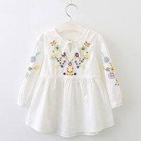 Flower Embroidery Long-sleeve White Dress for Little Girls