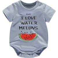 Blue Watermelon Print Short-sleeve Bodysuit for Babies