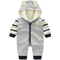 Cool Sporty Boy Printed Striped Hooded Jumpsuit for Babies