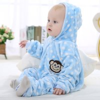 Adorable Dots Bee Flannel Hoodie Jumpsuit for Baby