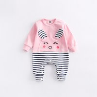 Lovely Rabbit Appliqued Striped Jumpsuit for Babies