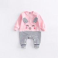 Lovely Rabbit Appliqued Striped Jumpsuit for Babies