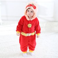 Super Cute Smile Face Appliqued Fleece Hooded Jumpsuit for Babies