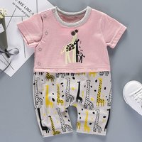Cool Faux-2 Giraffe Printed Short-sleeve Romper for Baby