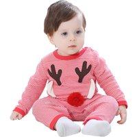 Cute Deer-appliqued Striped long-sleeve Jumpsuit for Babies