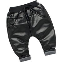 Cool Black Pu Leather Pants for Baby Boys