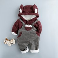 2-piece Bear Hooded Top and Overall Pants Set for Babies