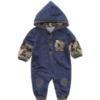 Baby Boy's Camouflage Color-block Hooded Jumpsuit