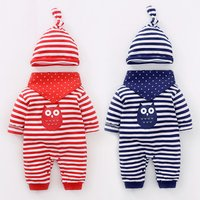 3-piece Owl Printed Striped Jumpsuit, Bibs and Lovely Hat Set