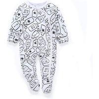Adorable Milk Bottle Pattern Long-sleeve Footie Jumpsuit for Babies