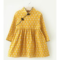Lovely Rabbit Stand Collar Chinese Style Dress for Little Girls