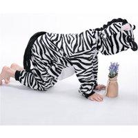 Cute Zebra Hooded Fleece Jumpsuit for Babies