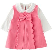 2-piece White Long-sleeve Top and Sleeveless Pink Bowknot Dress for Baby Girls
