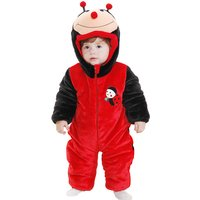 Adorable Ladybird Flannel Hooded Jumpsuit for Baby