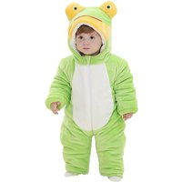 Lovely Flannel Frog Hooded Jumpsuit for Baby