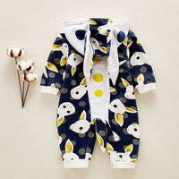 Lovely Rabbits Pattern Hooded Long-sleeve Jumpsuit for Babies