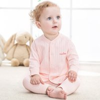 2-piece Solid Long-sleeve Top and Pants Pajamas Set for Babies