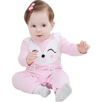 Lovely Fox Print Long-sleeve Jumpsuit in Pink for Babies
