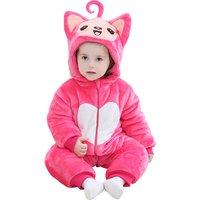 Super Cute Little Fox Hooded Fleece Jumpsuit in Pink for Babies