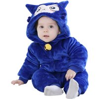 Blue Sheep Hooded Long-sleeve Fleece Jumpsuit for Babies