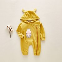 Adorable Hippo Patterned Long Sleeve Zip-up Hooded Jumpsuit
