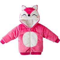 Hooded Little Fox Long-sleeve Zip-up Fleece Coat for Babies
