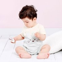 Lovely Cat Striped Side Buttons Romper for Babies