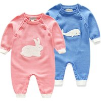 Lovely Zoo Patterned Fine-knit Long Sleeve Jumpsuit for Baby