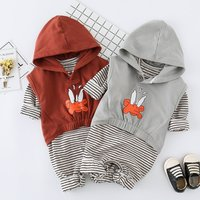 Baby's Striped Long Sleeve Jumpsuit and Hooded Vest Set