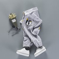 Adorable Striped Penguin Shirted Jumpsuit for Baby
