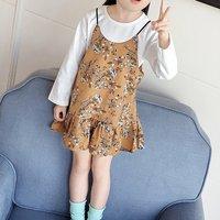 Lovely Floral Ruffles Sleeveless Dress Set for Girls
