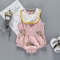 Sheep Pattern Sleeveless Bodysuit with Bibs for Babies